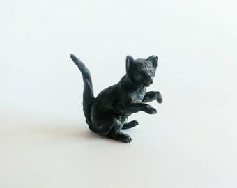 Antique pewter miniature cat figurine