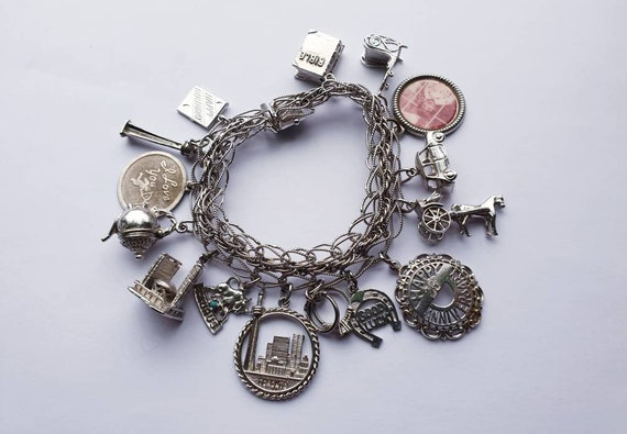Vintage Jerusalem souvenir charm bracelet