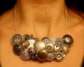 Vintage Button Necklace: 'Chevrolet' (Sterling Silver)