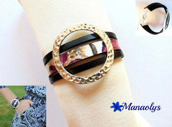 Cuff Bracelet black, purple and pink, genuine leather and split leather, from silver 405
