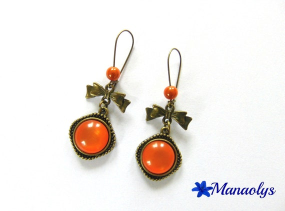 Earrings sleepers bronze vintage cabochon orange resin, knots and beads