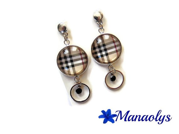 Earrings Burberry, Burberry Plaid, patterns tile, glass cabochons