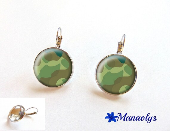 Earrings sleepers khaki green camouflage patterns, 2221 glass cabochons
