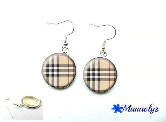 Earrings Burberry, tiles, glass, backings-silver or bronze cabochons