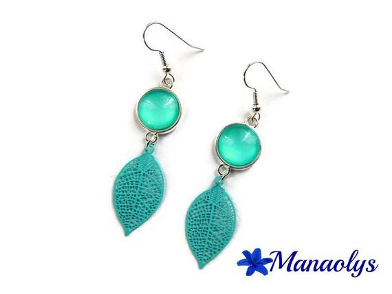 Feather earrings, earrings studs, earrings, pale green leaves 3252