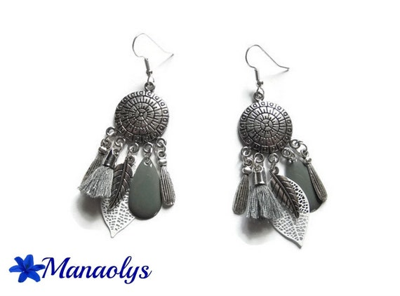 Dangle Silver earrings, feathers, tassels, leaves, chandelier, grey and white, Bohemian