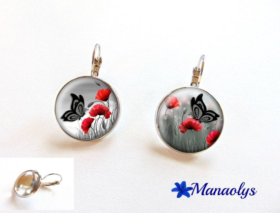 Earrings sleepers poppies and butterflies, 2330 glass cabochons