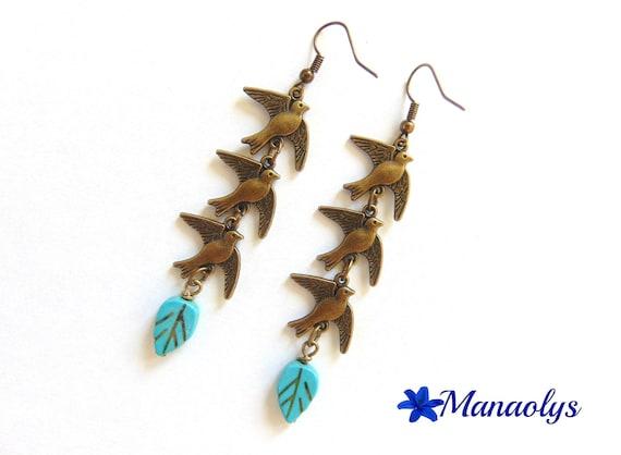 Earrings bronzes birds, 1550 turquoise leaf beads