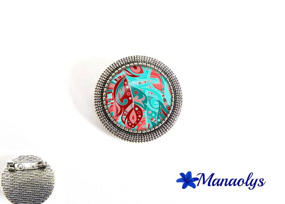Brooch, antique silver round blue turquoise, Burgundy and pink glass cabochons