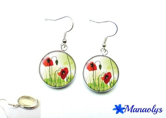 Poppies, flowers, glass 2207 cabochons earrings