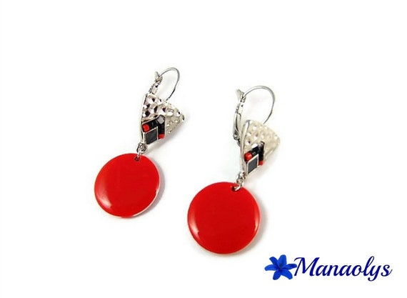 Red earrings, Stud Earrings, red, black and gray, red enamel round pendants 3012