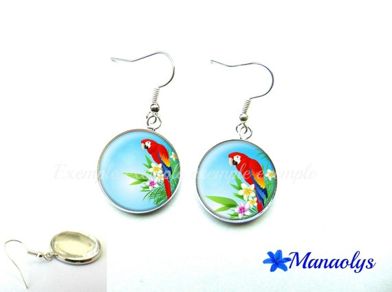 Parrots and flowers earrings exotic 1166 glass cabochons