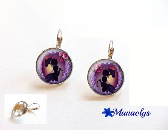 Shabby chic earrings, Stud Earrings, the Lady with parasol, 3505 glass cabochons