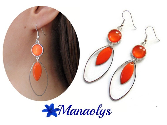 Hoop earrings, silver ring oval charms, enamel, orange glass cabochons, mothers day