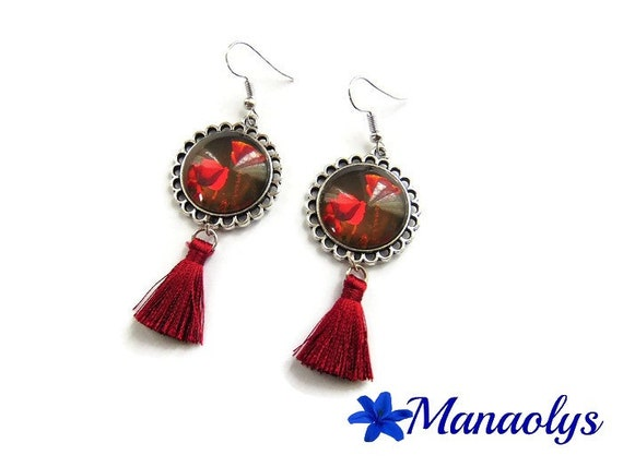 Poppies, tassels, glass cabochons earrings