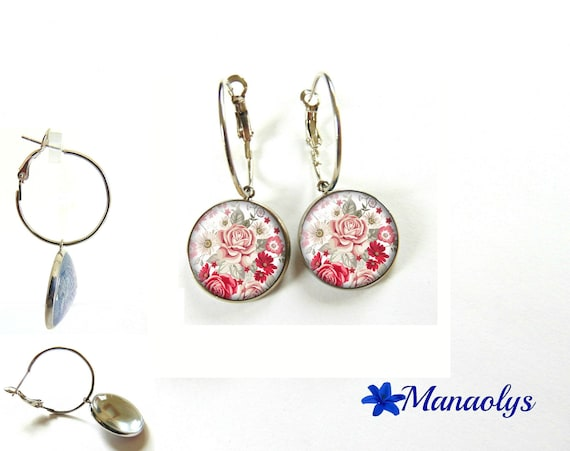 Hoop earrings silver red and pink flowers glass cabochons, rose 3433