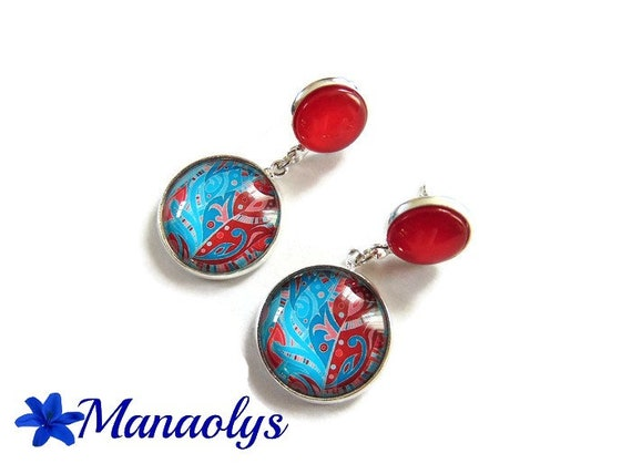 Patterns red and turquoise, feather, chips, dangling, turquoise stone double 3515 cabochons earrings