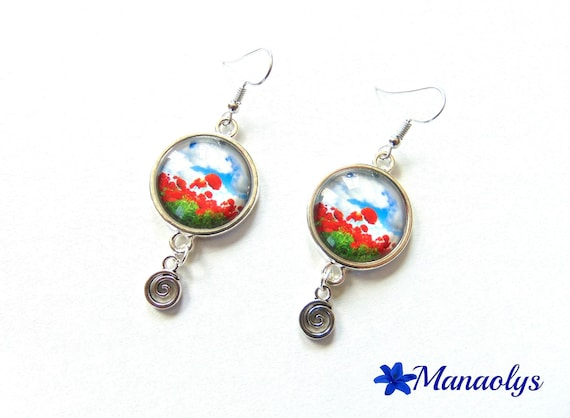 Earrings cabochon glass poppies
