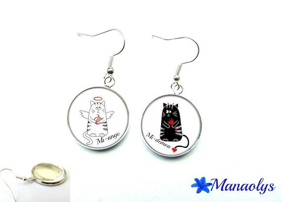Cats, mi-ange, half-demon, 2110 glass cabochons earrings