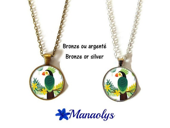 Toucan or necklace necklace toucan, cabochons glass, silver or bronze backings