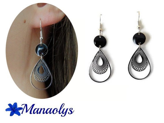 Lightweight earrings, Bohemian, drops, silver and black sequins