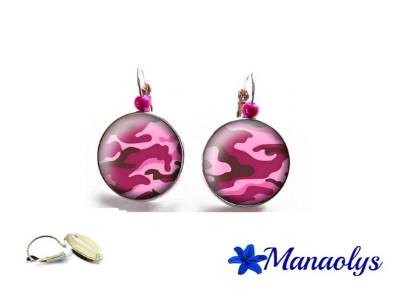 Earrings sleepers pink camouflage patterns, glass cabochons, beads magic 3512