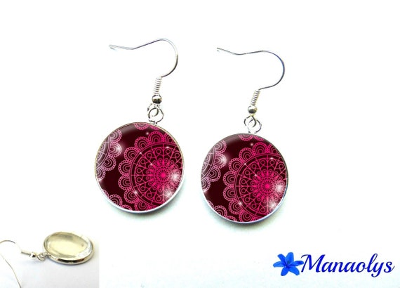 Pink lace, cabochons glass 2967 pattern Silver earrings