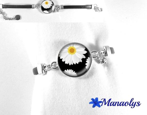 Black leather, glass flower Daisy 469 cabochon bracelet
