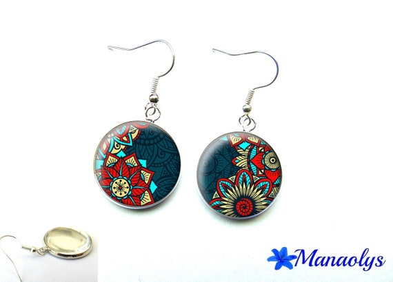 Flower pattern blue, red and turquoise cabochons earrings glass 377