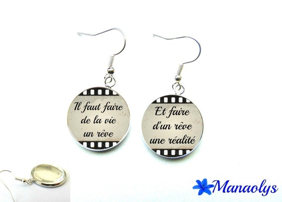 Quote, phrase, message, 2193 glass cabochons earrings