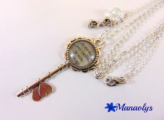 """Silver long key necklace, glass cabochon quote, """"I'm not old, I'm vintage"""""""