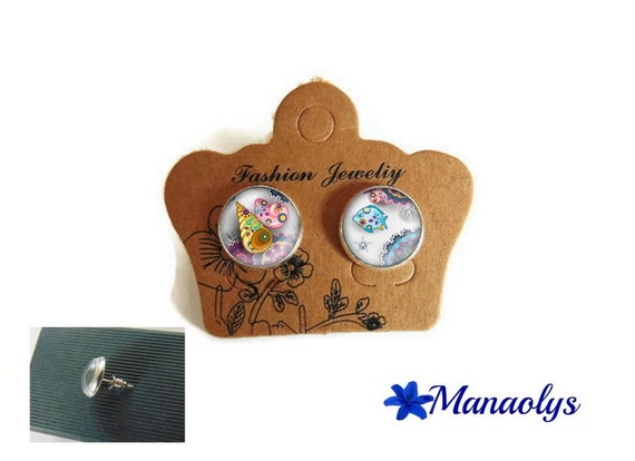 Fish and shells, summer, sea, beach, 3320 glass cabochons, silver studs earrings