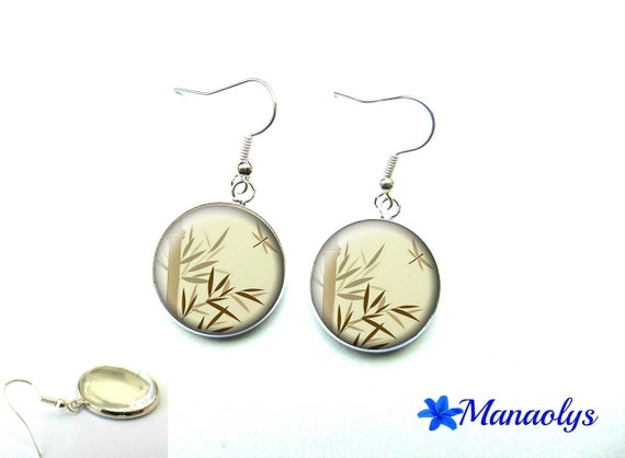 Bamboo leaves, 1303 glass cabochons earrings