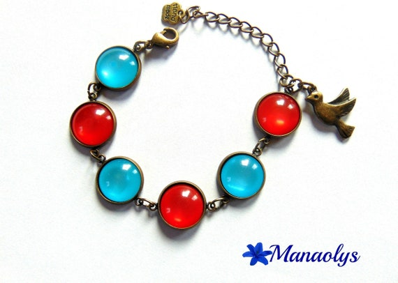 Bracelet 6 medallions, cabochons, red and turquoise resin 425