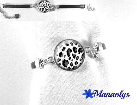 Black leather, black and white leopard 262 print glass cabochon bracelet
