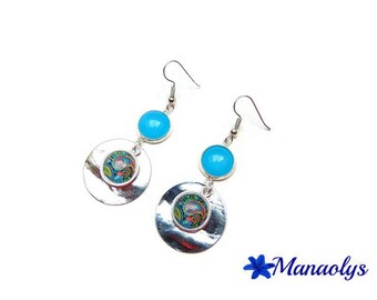 Blue, and multicolored pattern 2476 glass cabochons earrings