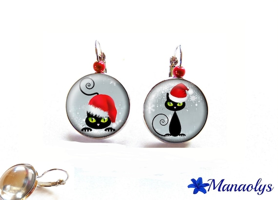Earrings Christmas earrings, Christmas, Christmas gift, Christmas jewelry, cats 2484 glass cabochons