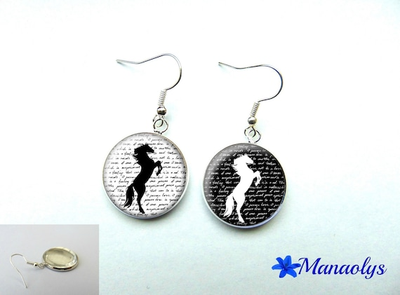 Earrings cabochon glass, black and white horse 1095