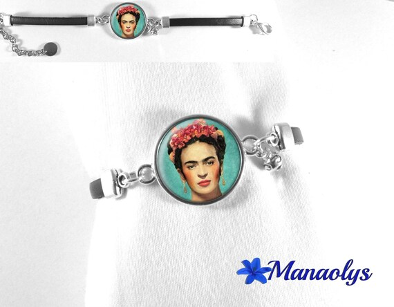 Black leather bracelet, cabochon glass Frida Kahlo portrait art, painting 500
