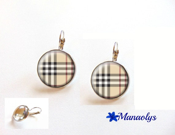 Earrings burberry, tiles, tile pattern, sleepers, 3545 glass cabochons