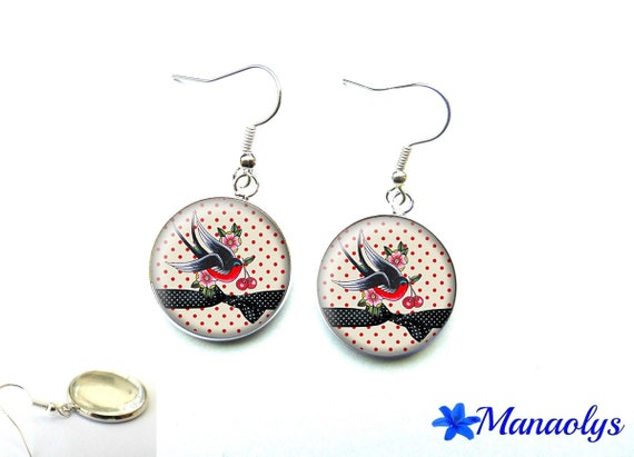 Earrings birds and cherries, 2855 glass cabochons