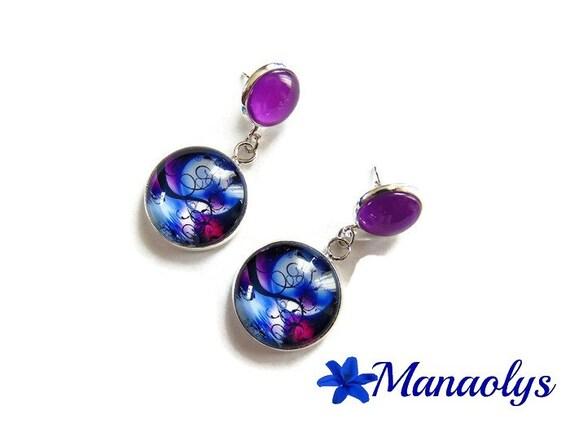 Earrings Moon Stud, dangling, double cabochons, Moonlight, purple, mauve 3513
