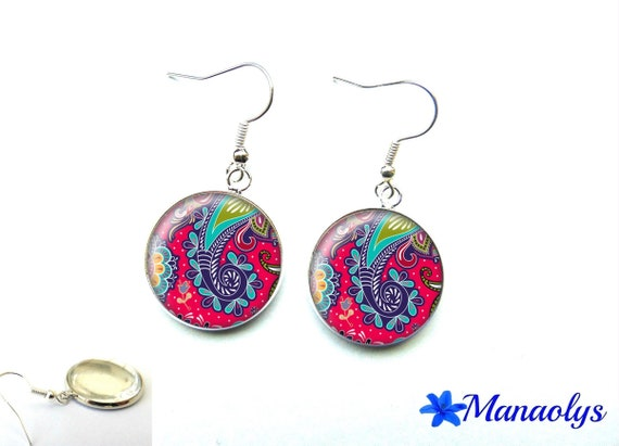Multicolored patterns, 2575 glass cabochons earrings