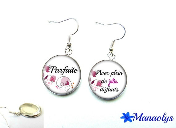 "Silver earrings studs glass message, phrase, ""Perfect with lots of pretty flaws"" 2797"