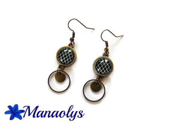 Bohemian earrings, bronze, geometric, black and white cabochon glass rings and bronze sequins