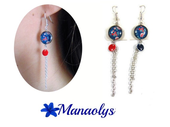 Long dangle earrings flowers, sequins, silver chains 3239