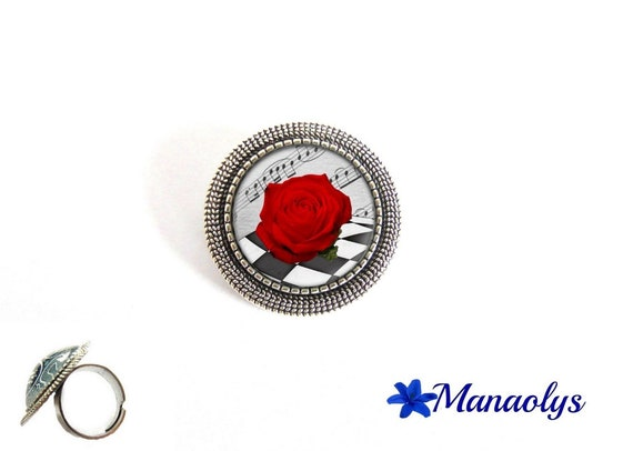 ring adjustable round antique silver, red roses, flowers, 191 glass cabochons