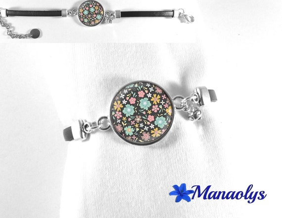 Leather Bracelet fairy, pink, blue and yellow flowers, 490 glass cabochon