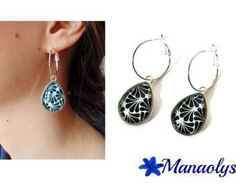 Earrings hoop earrings, art deco Teardrop shape patterns, black and white