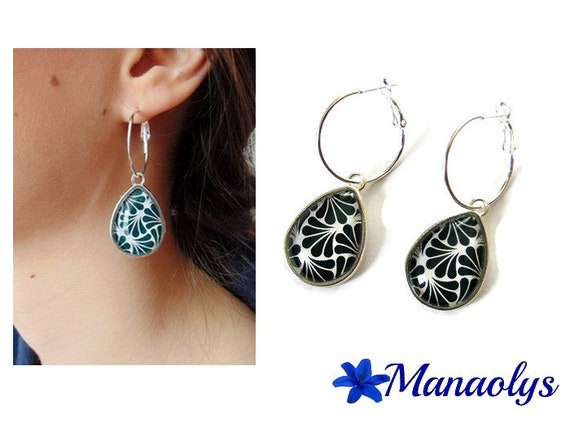 Earrings hoop earrings, art deco Teardrop shape patterns, black and white